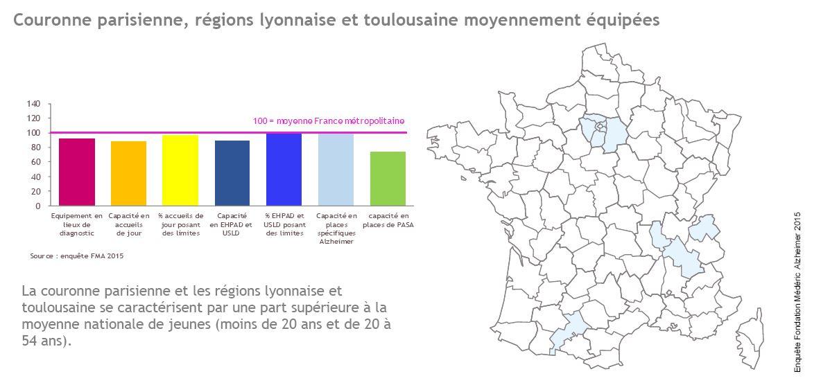 Couronne parisienne, régions lyonnaise et toulousaine moyennement équipées